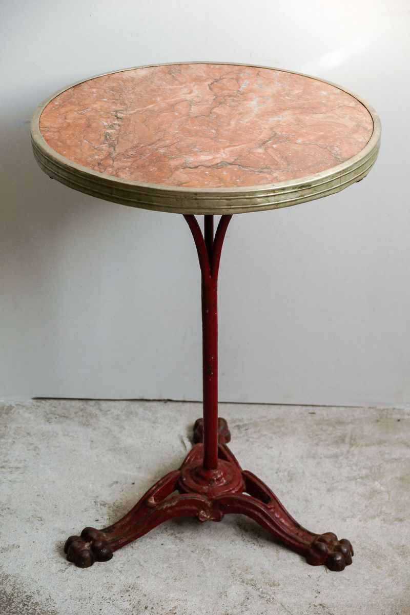 French Bistro Table with a Marble Top and a Cast Iron Stand