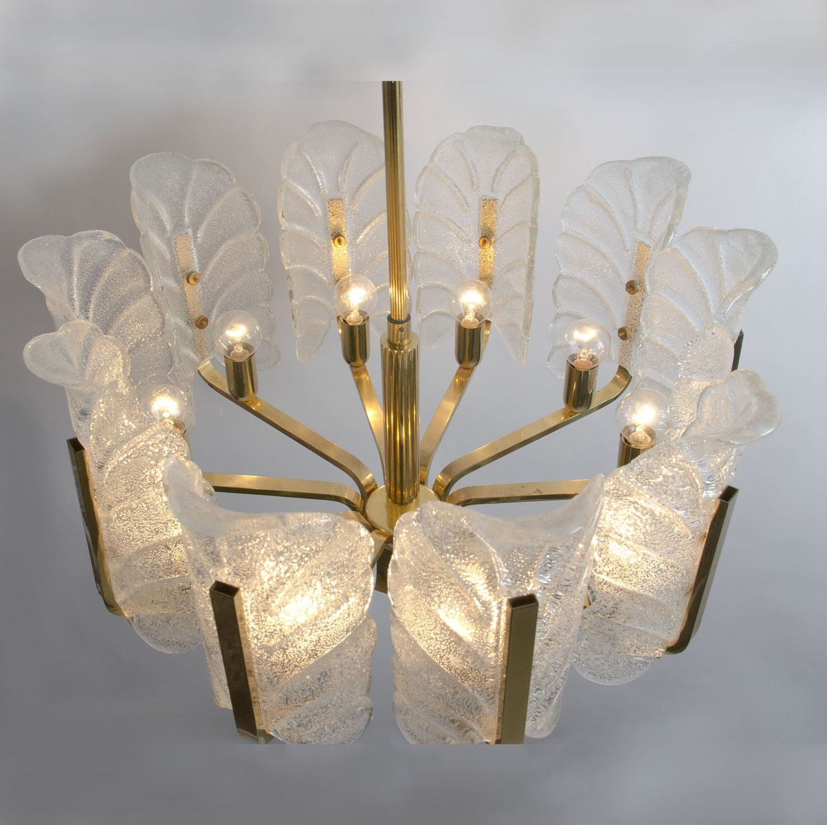 Swedish Large Brass Chandelier with Glass Leaves by Carl Fagerlund – Large Brass Chandelier