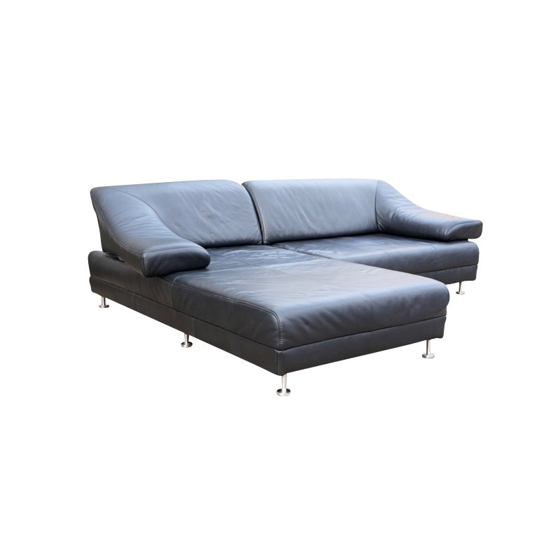 Black Leather Corner Sofa From Himolla 1970s For Sale At
