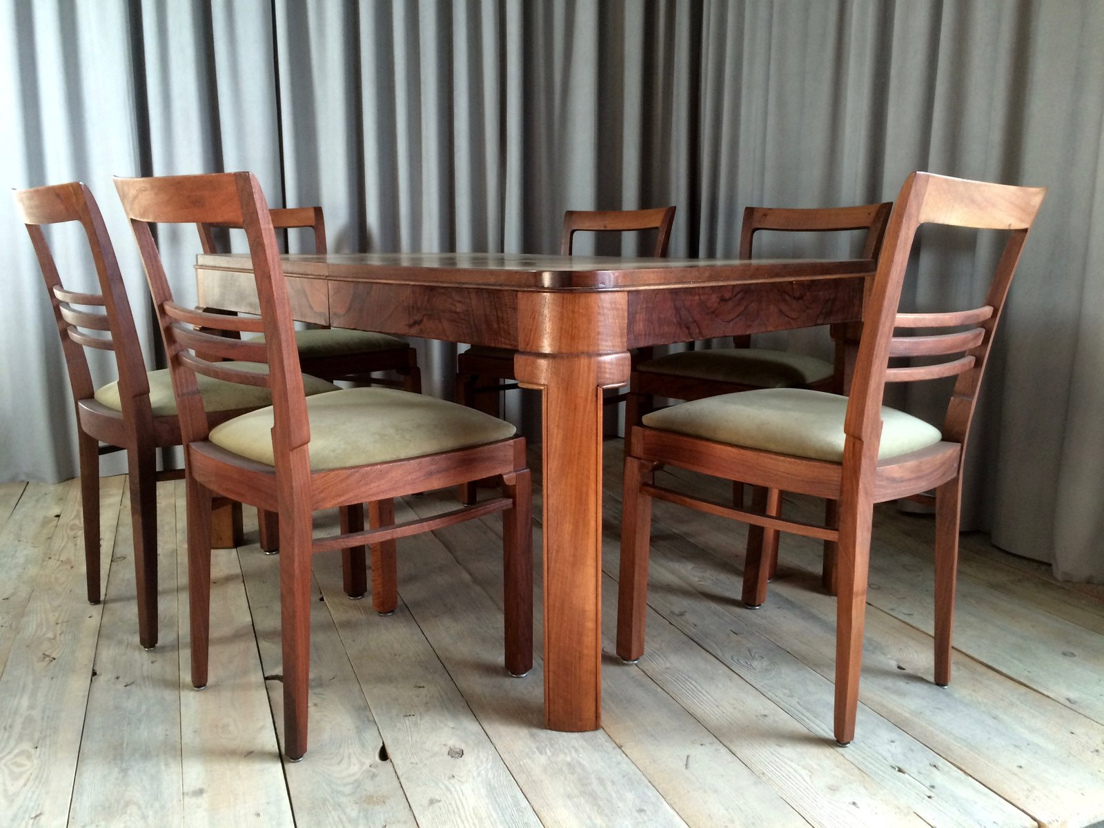 French Dining Set with 7 Chairs 1920s for sale at Pamono