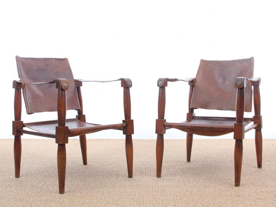 Safari Chairs In Beech, 1940s, Set Of 2 For Sale At Pamono