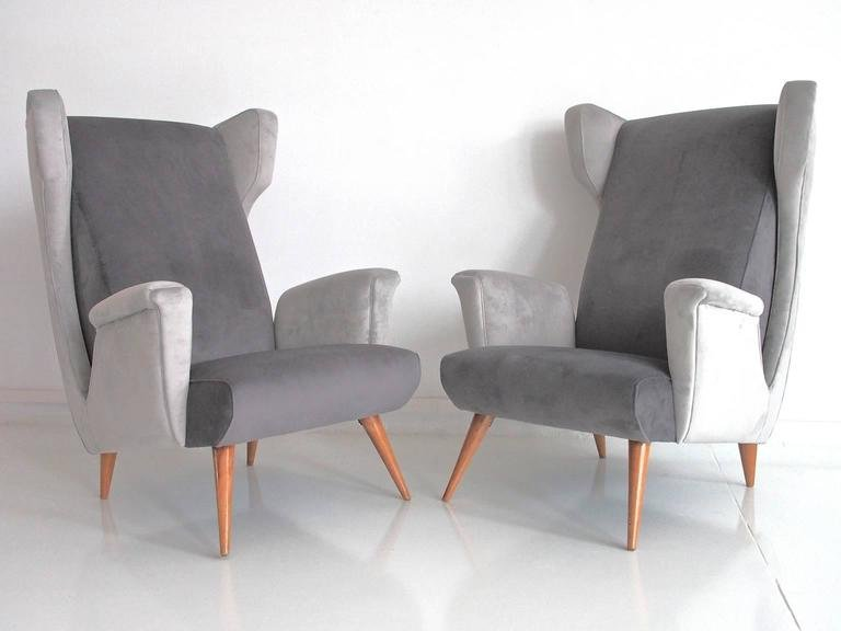 Mid Century Modern Italian Armchairs In Grey Velvet, Set Of 2