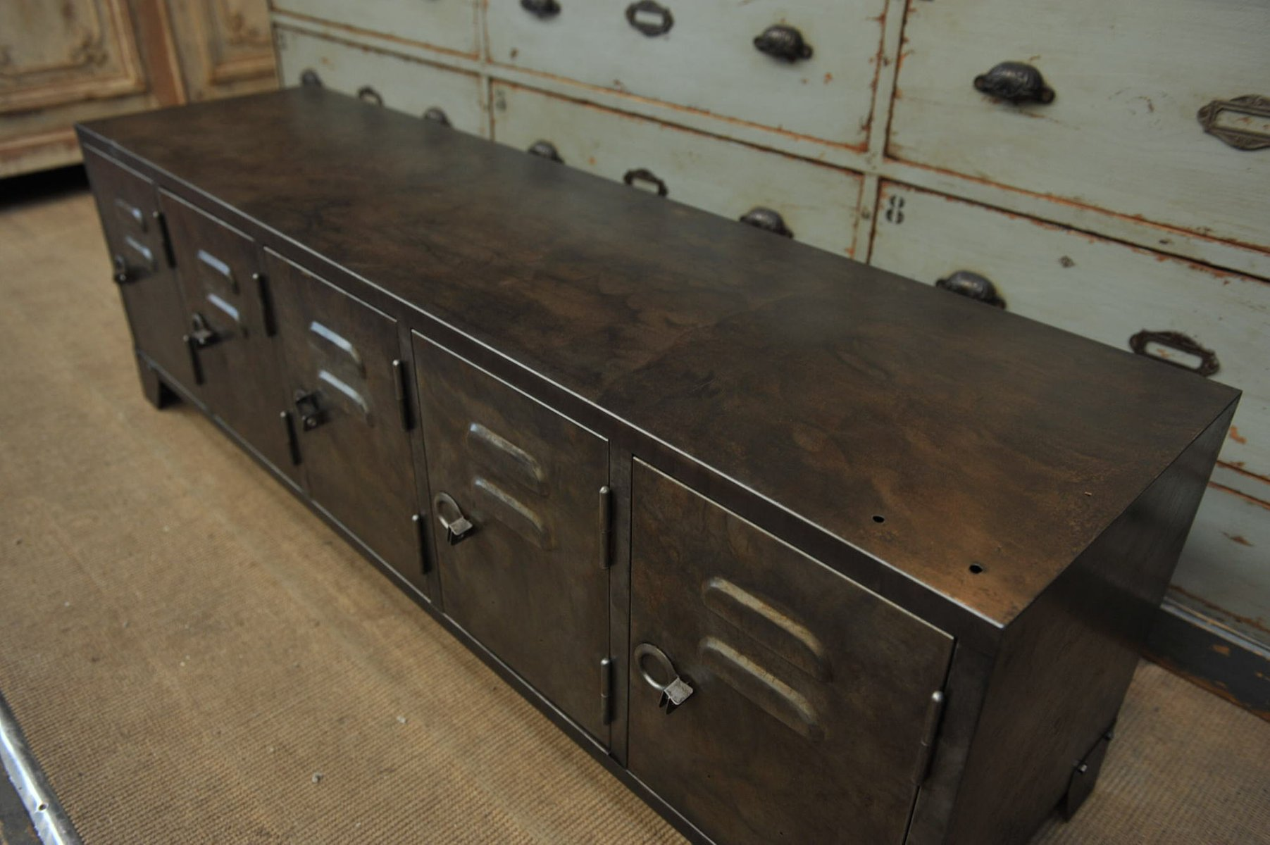 industrial metal sideboard with five doors 1950s for sale. Black Bedroom Furniture Sets. Home Design Ideas