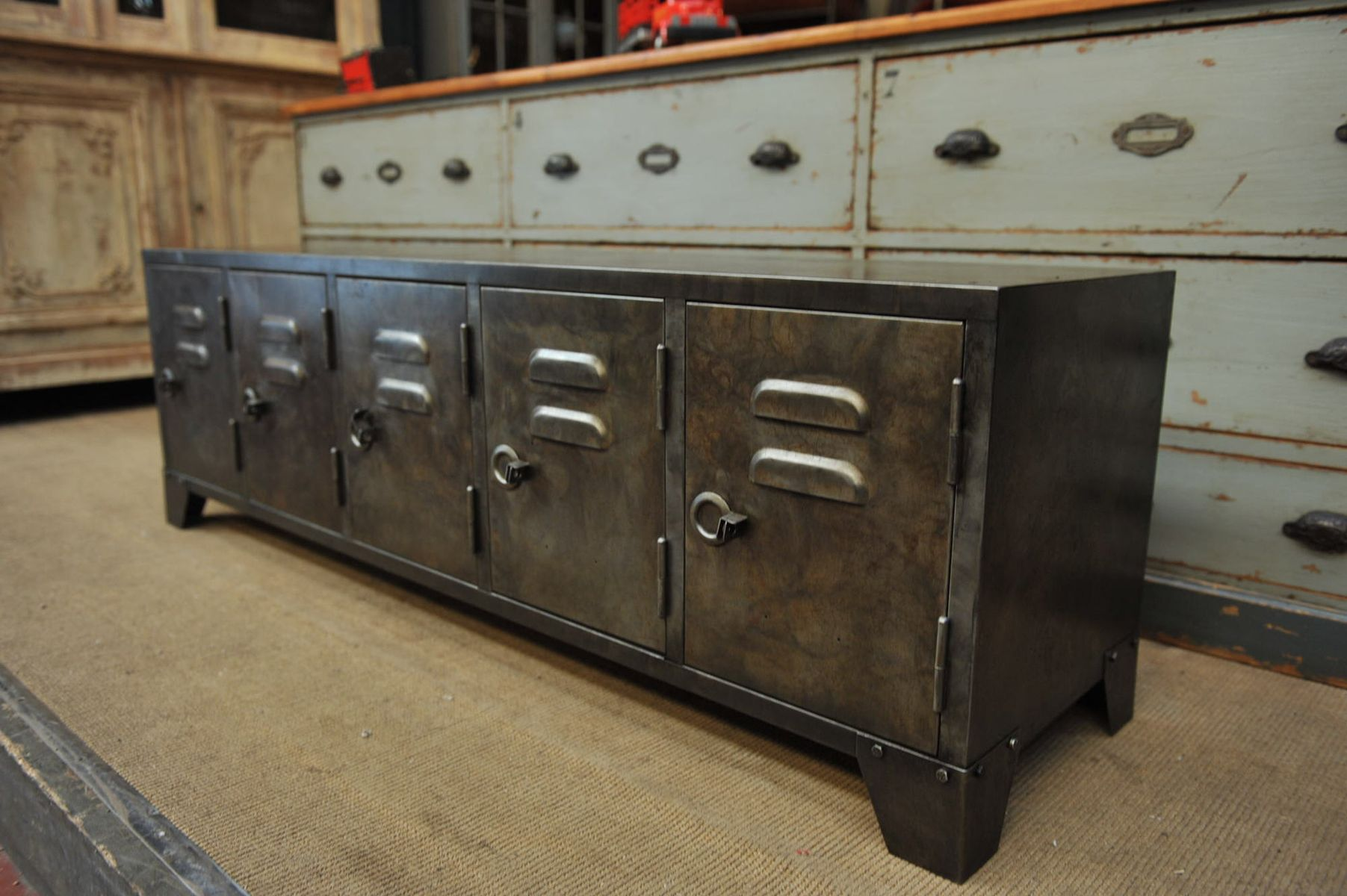 industrial metal sideboard with five doors s for sale at pamono - price per piece