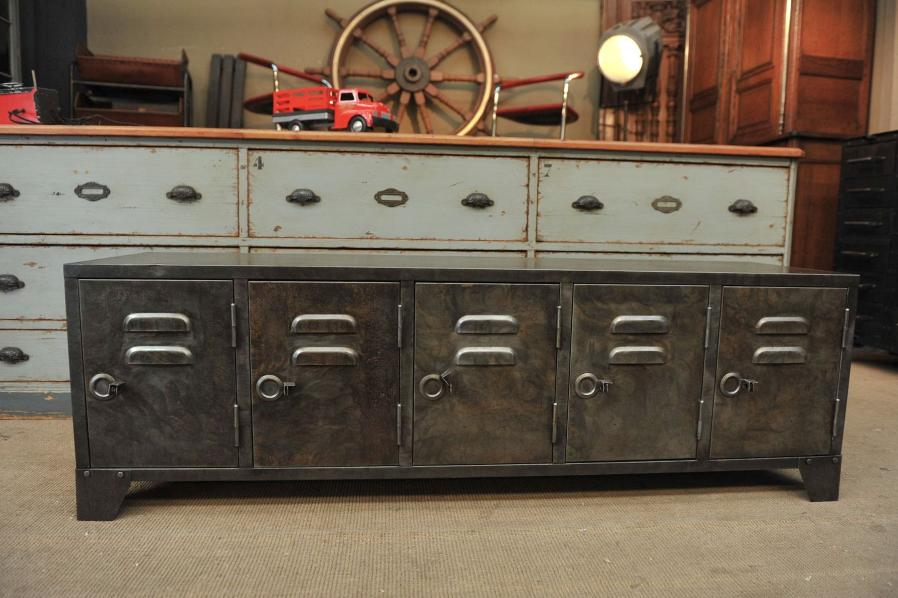 industrial metal sideboard with five doors s for sale at pamono - industrial metal sideboard with five doors s