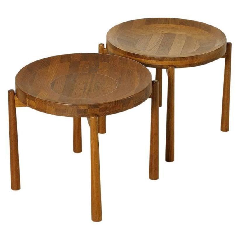 Vintage Round Teak Side Tables by Jens Quistgaard Set of 2 for