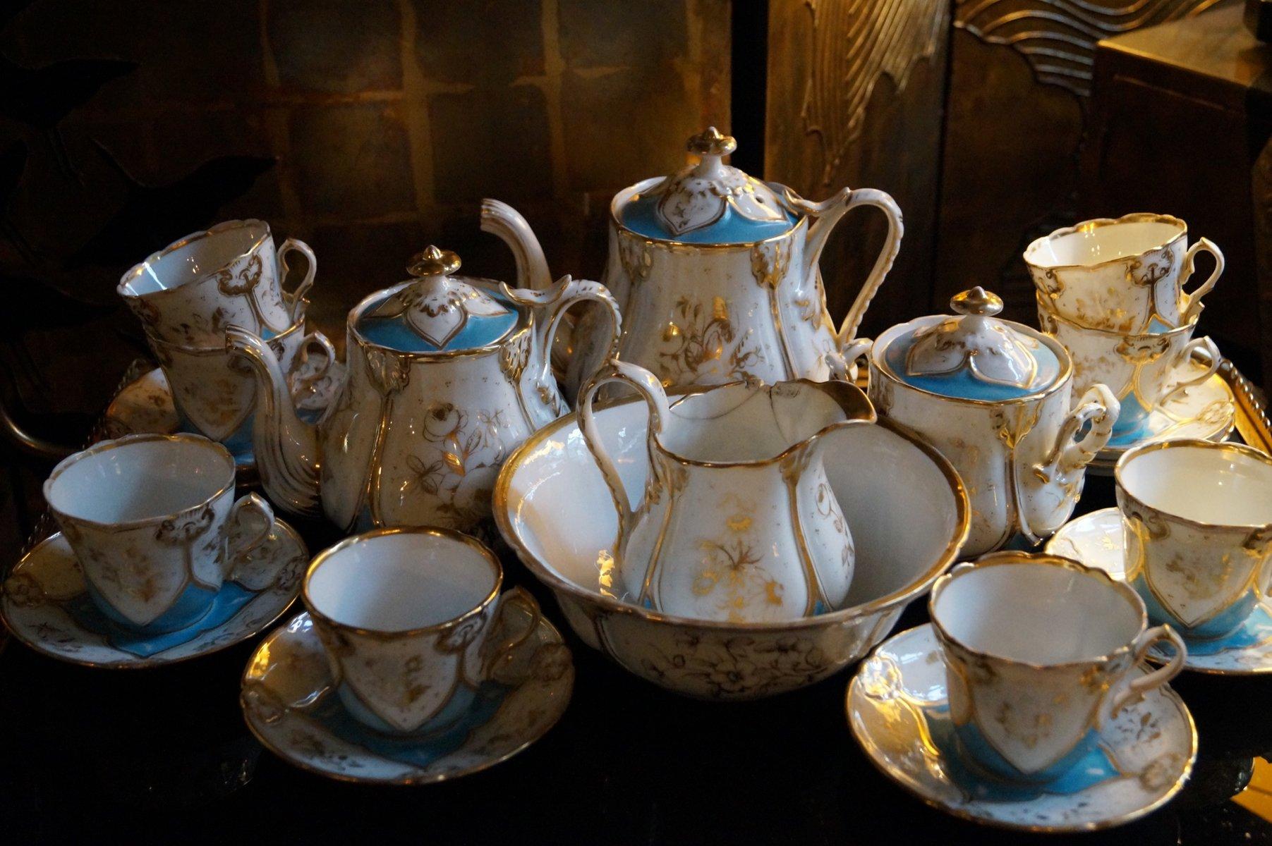 antikes pariser porzellan teeservice 1850 bei pamono kaufen. Black Bedroom Furniture Sets. Home Design Ideas