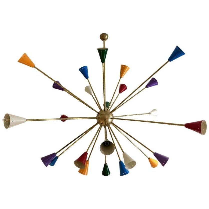 Vintage Large Sputnik Chandelier With 24 Colorful Lights