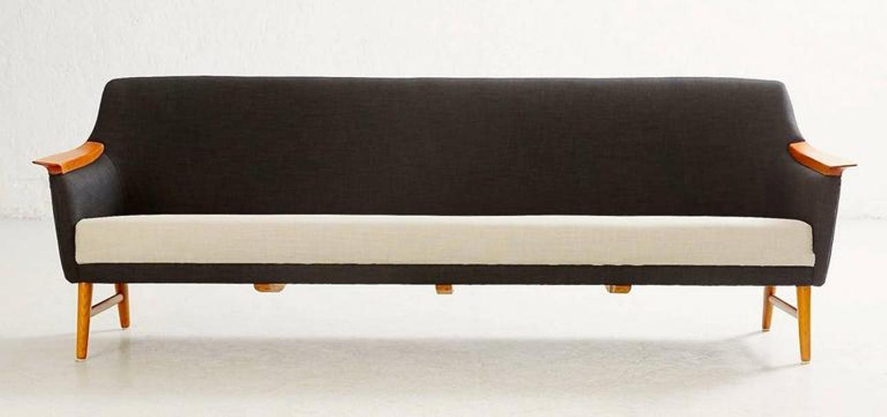 Vintage scandinavian modern long black and white sofa from for Long couches for sale