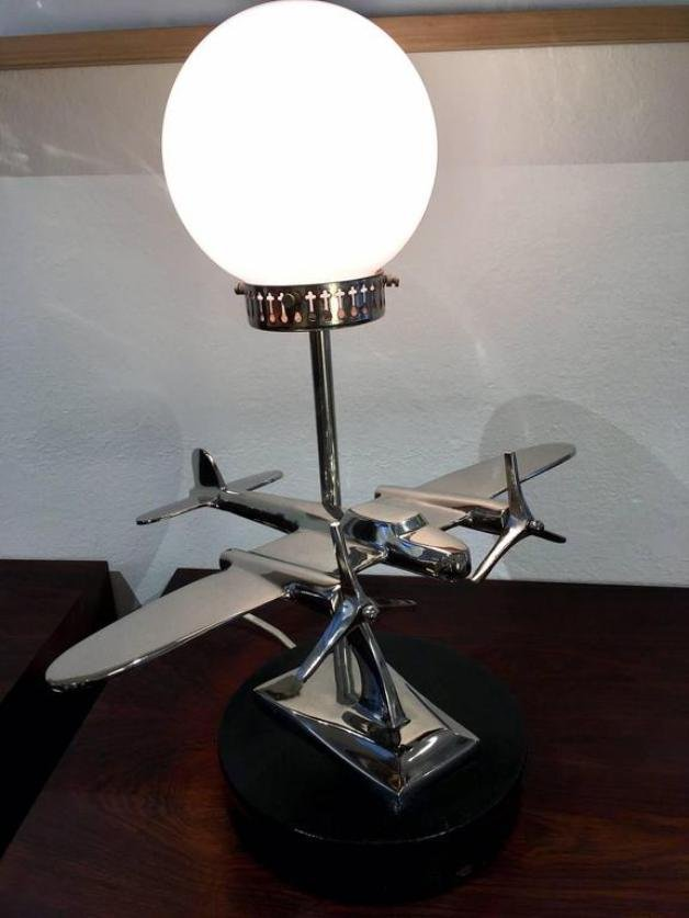 Vintage Art Deco Aircraft Chrome Table Lamp For Sale At Pamono