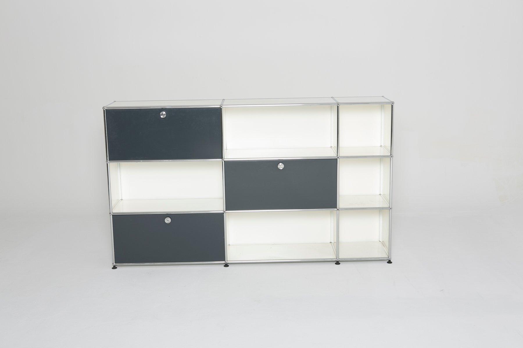 vintage cabinet in white and grey from usm haller for sale. Black Bedroom Furniture Sets. Home Design Ideas