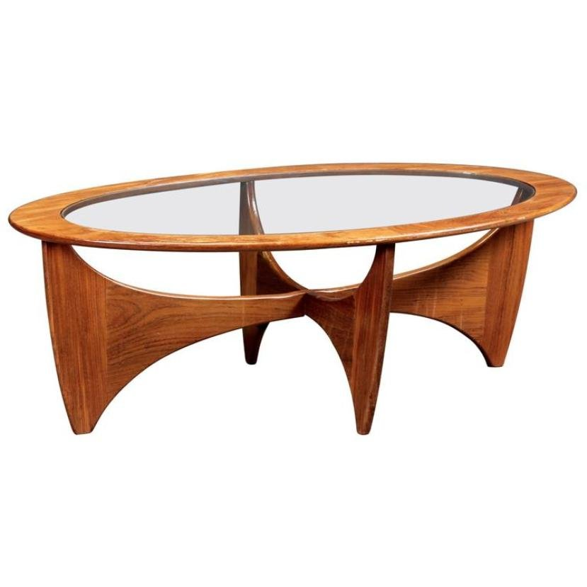 Oval teak coffee table with glass top from g plan 1960s for Oval teak coffee table