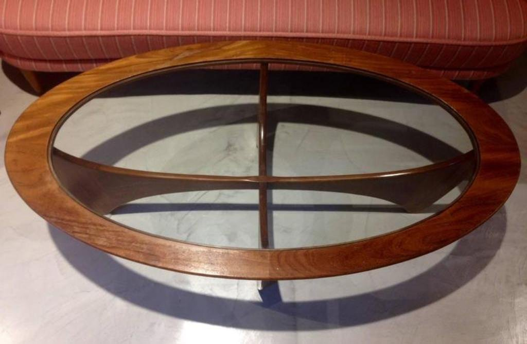 Oval Teak Coffee Table with Glass Top from G-Plan, 1960s ...