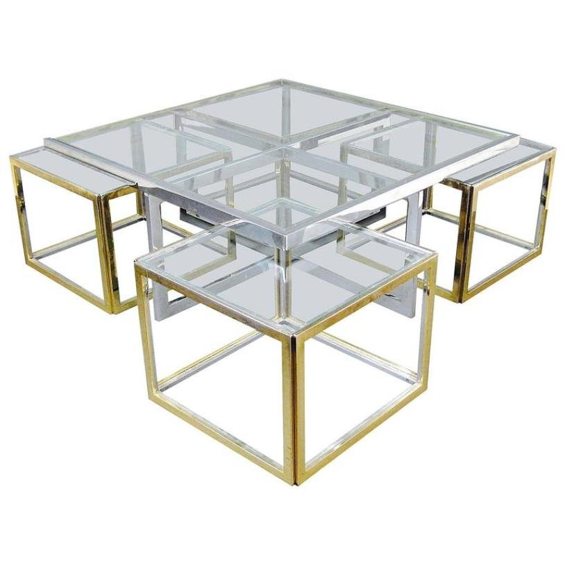 Vintage large glass and metal coffee table for sale at pamono Large glass coffee table