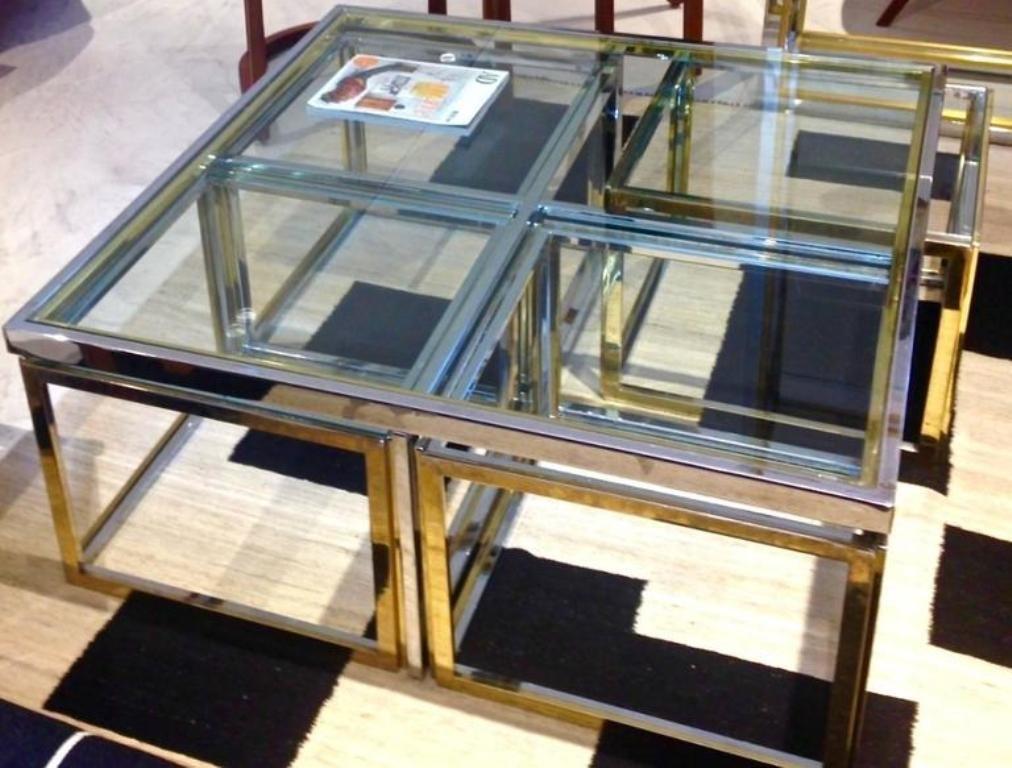 gro er vintage couchtisch aus glas metall bei pamono kaufen. Black Bedroom Furniture Sets. Home Design Ideas