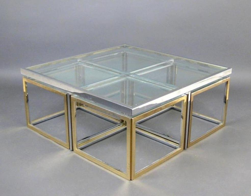 Vintage large glass and metal coffee table for sale at pamono for Big glass coffee table