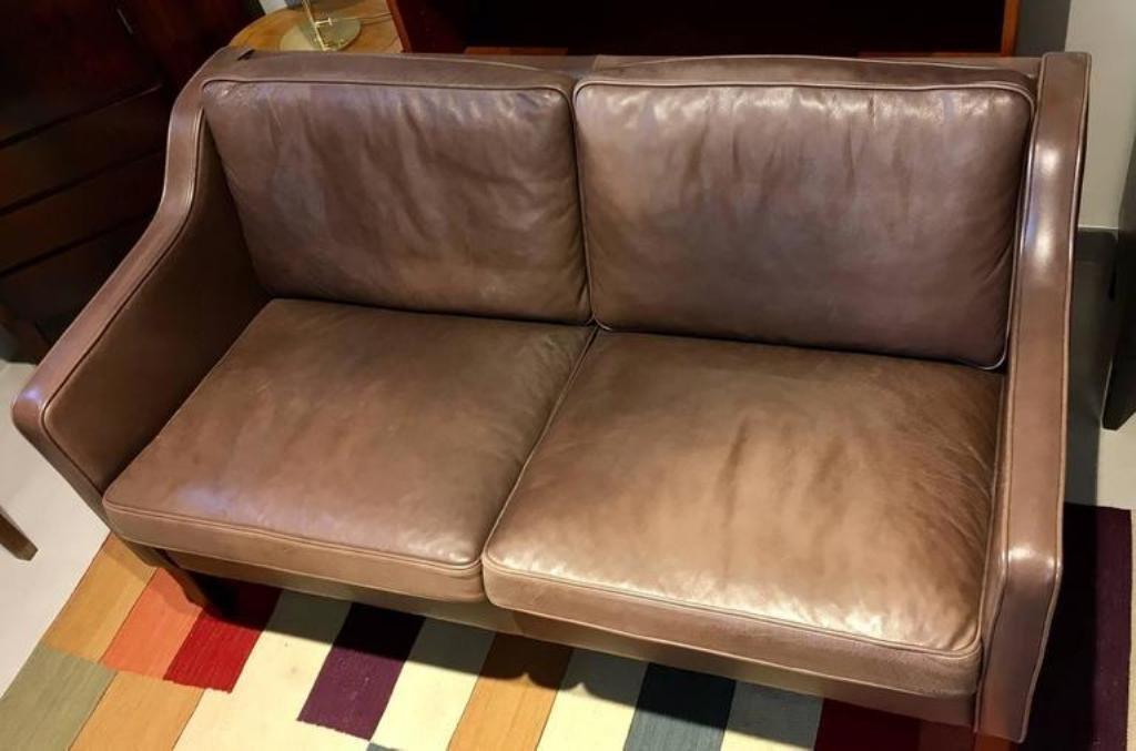 braunes zwei sitzer ledersofa von mogens hansen bei pamono. Black Bedroom Furniture Sets. Home Design Ideas