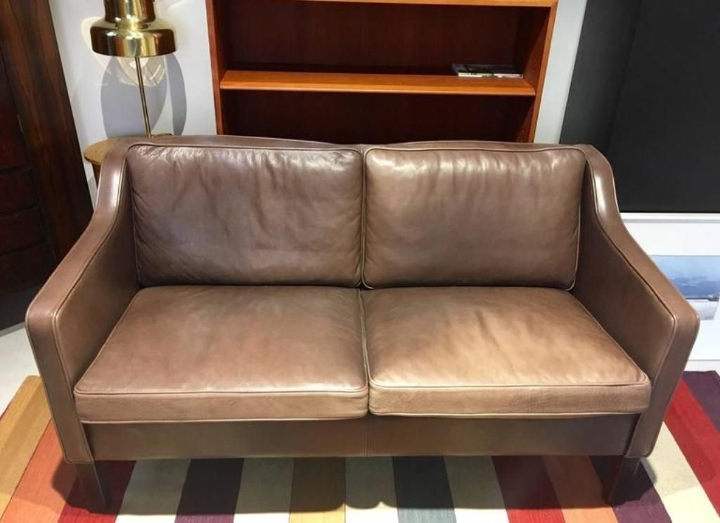 Two seater brown leather sofa from mogens hansen for sale for Leather sofa 7 seater