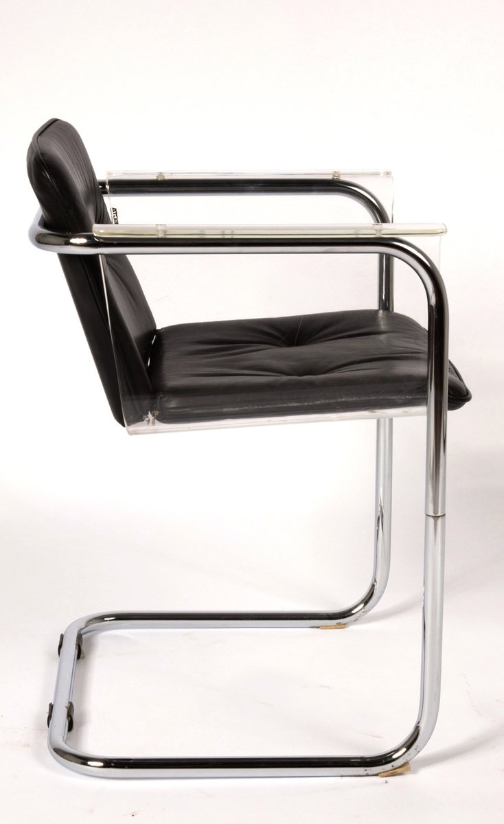 modernist plexiglass and leather cantilever chair by hans könecke  - modernist plexiglass and leather cantilever chair by hans könecke fortecta s