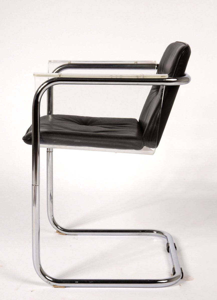 modernist plexiglass and leather cantilever chair by hans könecke  - price per piece