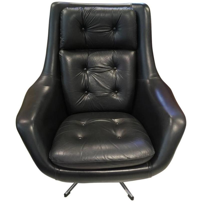 vintage black leather swivel armchair by henry walter klein for bramin