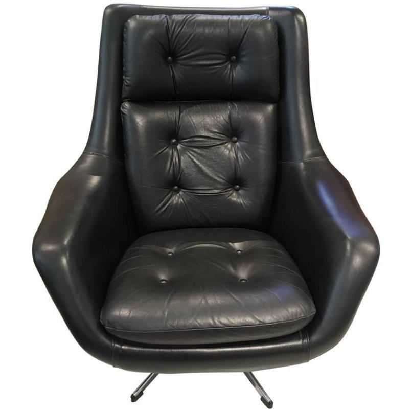 armchair swivel. vintage black leather swivel armchair by henry walter klein for bramin