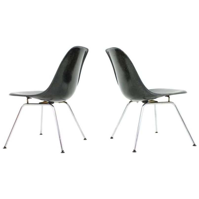 Black Fiberglass Side Chairs With Low H Base By Charles U0026 Ray Eames, Set Of  2