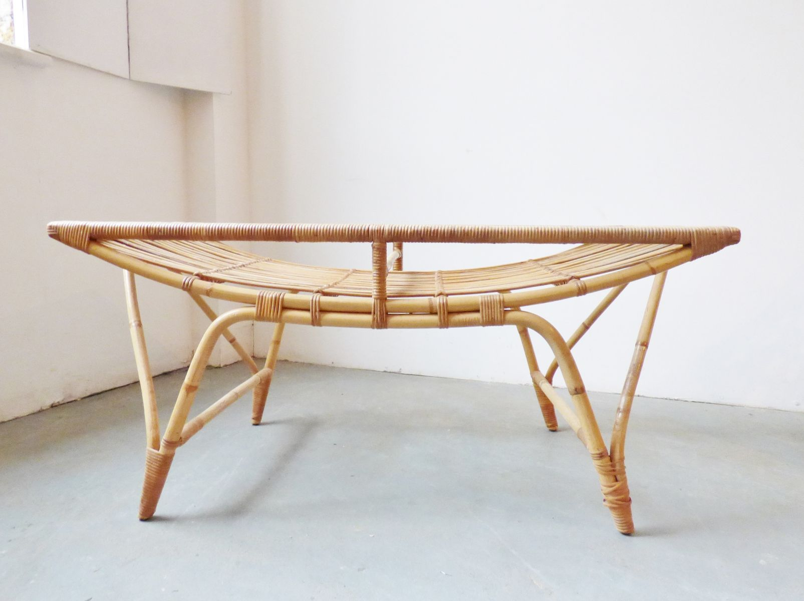 Vintage Danish Bamboo Coffee Table with Glass Top for sale at Pamono
