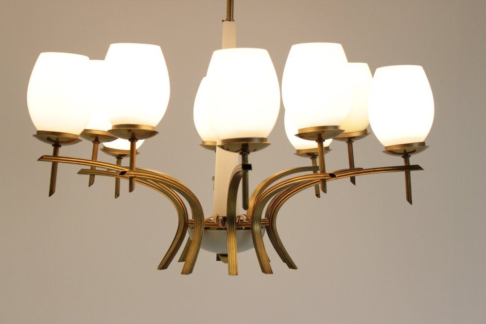 Mid Century Brass And Opaline Glass Chandeliers 1960s