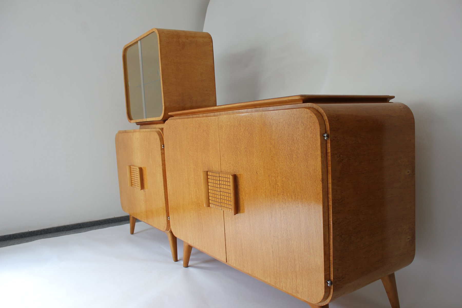 vintage buffet and vitrine by jindrich halabala for up. Black Bedroom Furniture Sets. Home Design Ideas
