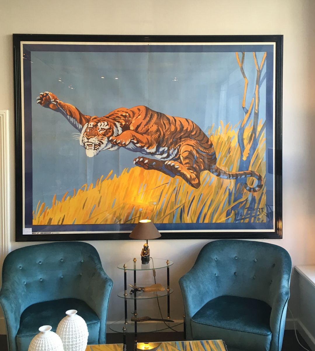 jumping tiger circus poster by hal bert for moody bros 1940s for