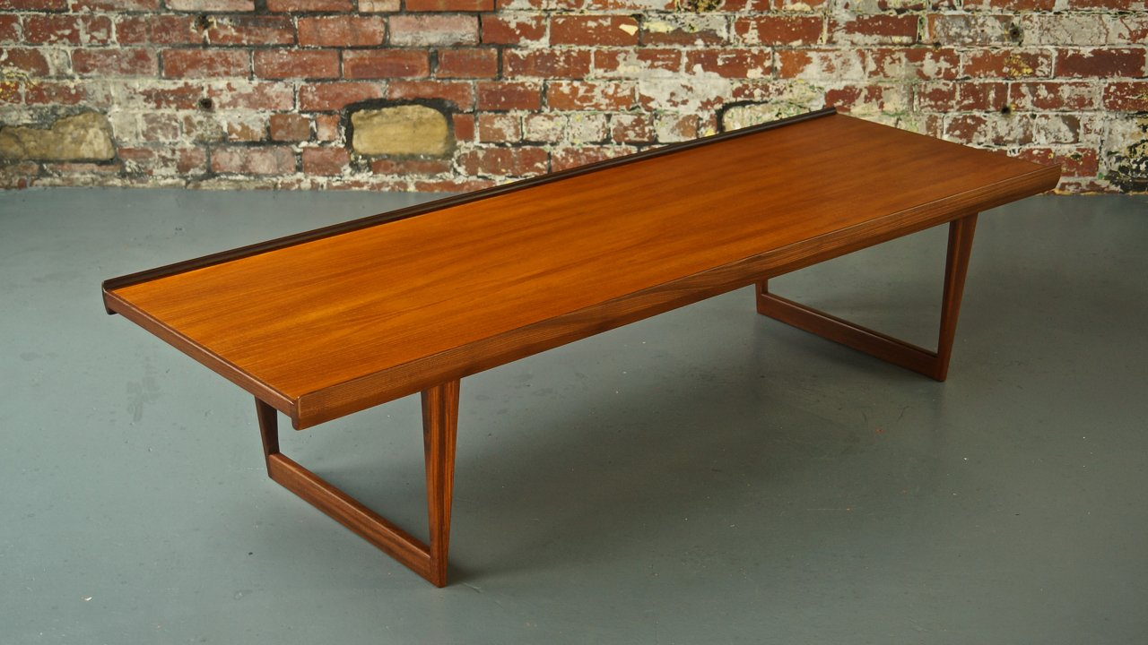 Mid Century Danish Teak Coffee Table Bench By L Vig Nielsen 1963 For Sale At Pamono