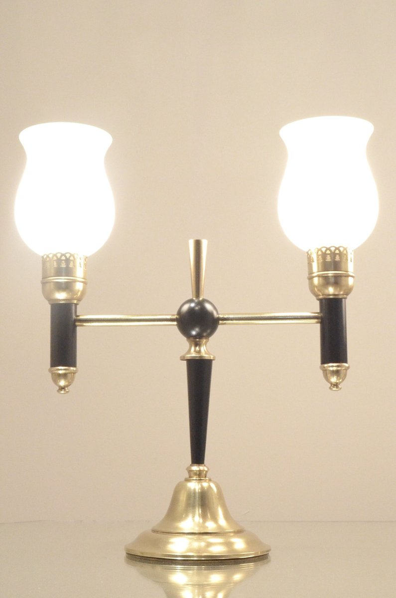 Mid century brass glass t shaped bedside table lamps from maison price 85000 regular price 127500 geotapseo Images