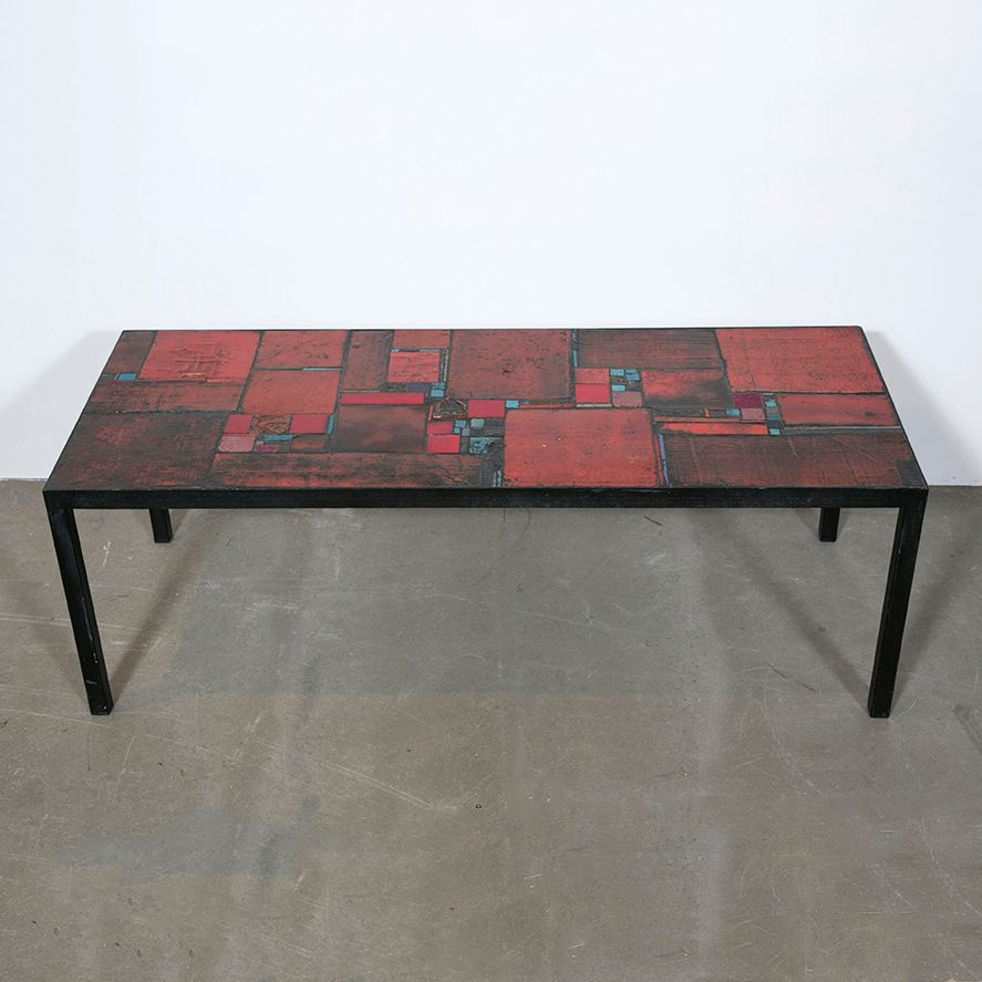 Table vintage en c ramique rouge par pia manu en vente sur - Table ceramique italie ...