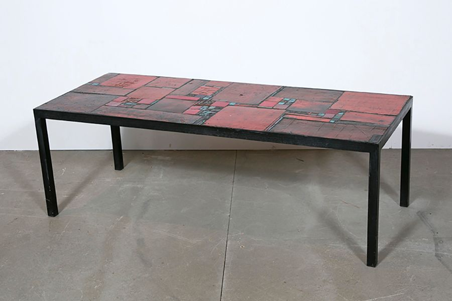 vintage red ceramic table by pia manu for sale at pamono. Black Bedroom Furniture Sets. Home Design Ideas
