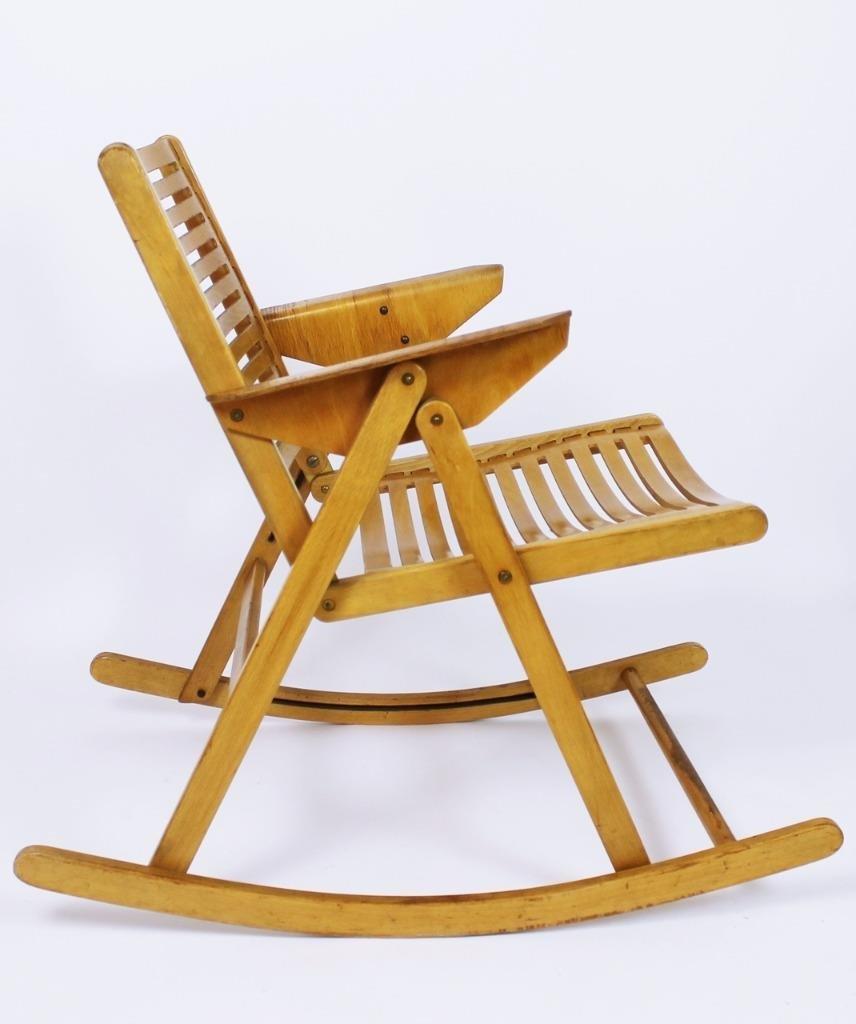 Plywood rocking chair - Vintage Rex Folding Rocking Chair By Niko Kralj