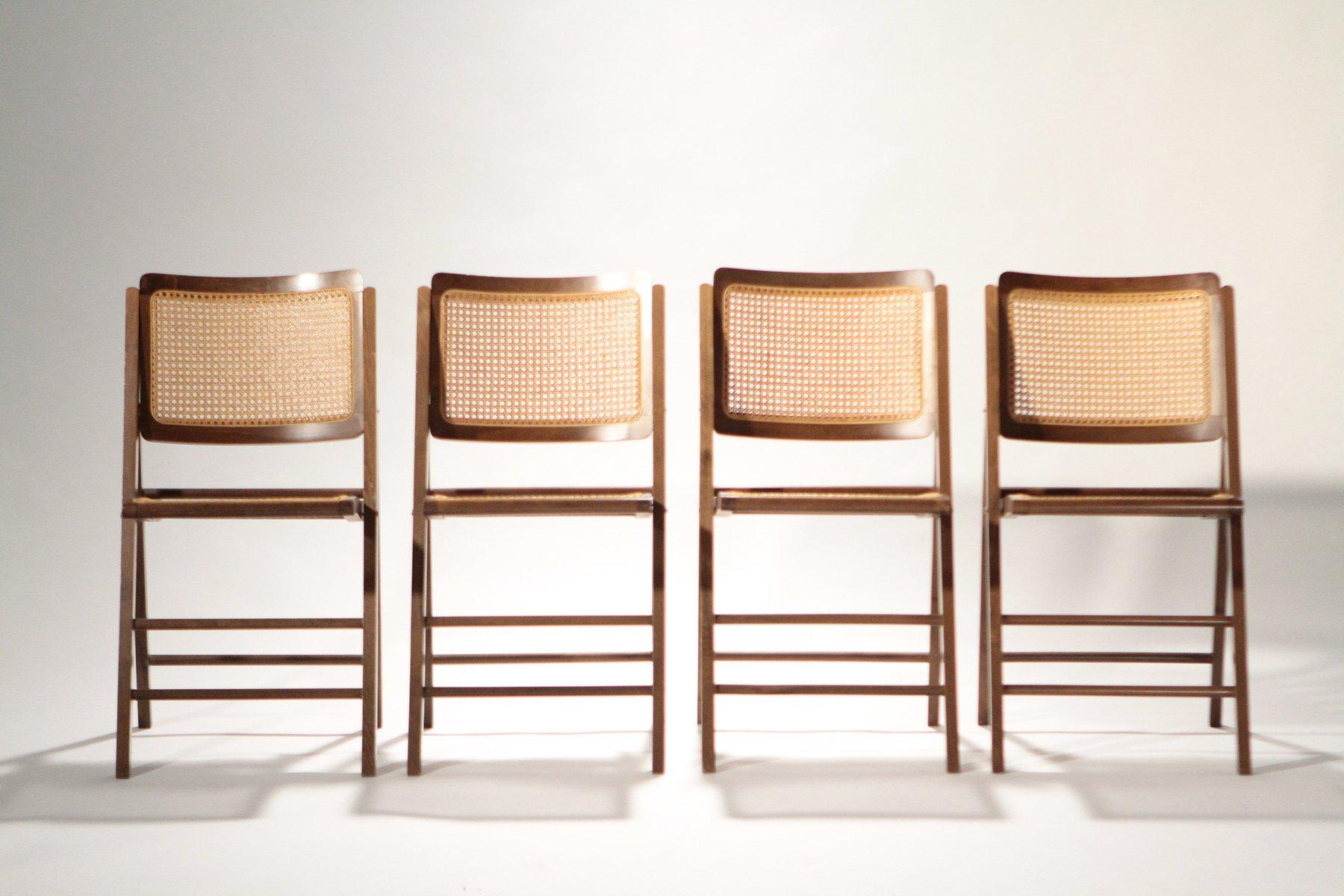 chaises pliantes en rotin 1950s set de 4 en vente sur pamono. Black Bedroom Furniture Sets. Home Design Ideas