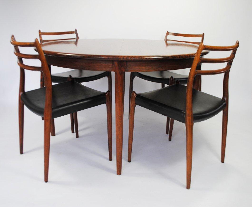 Model 78 Rosewood Dining Set By Niels Otto Møller For J. L. Møllers