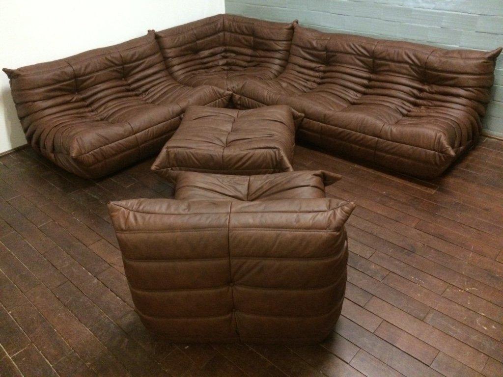 Ensemble de salon vintage togo en cuir marron par michel ducaroy pour ligne r - Togo cuir ligne roset ...