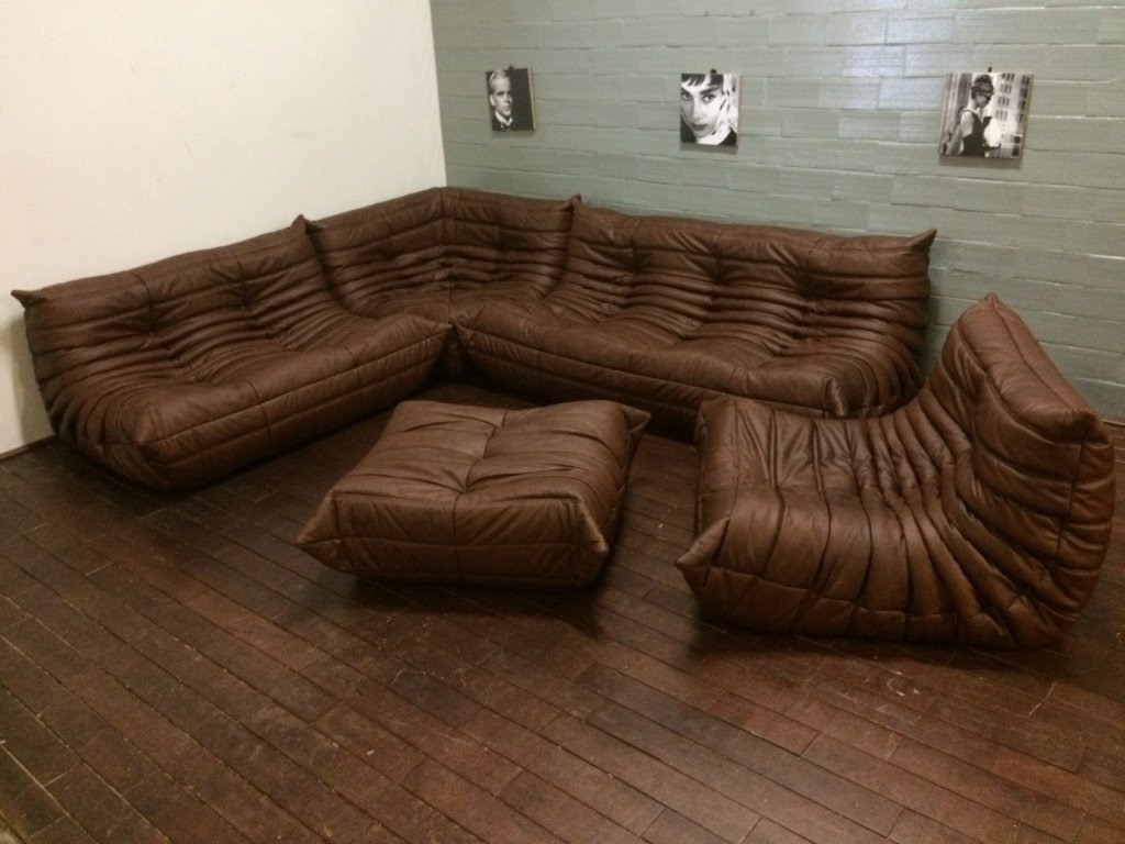 vintage brown leather togo living room set by michel. Black Bedroom Furniture Sets. Home Design Ideas