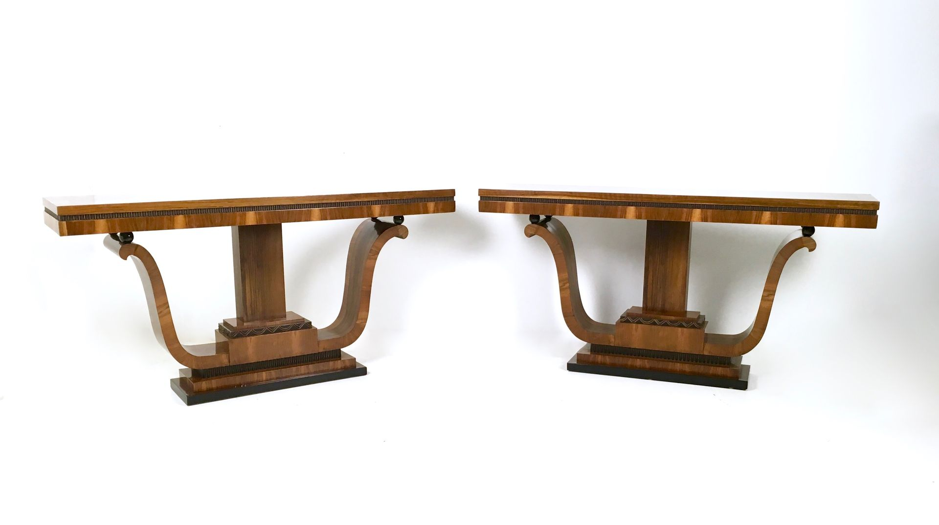 Vintage italian walnut and rosewood console tables 1940s set of vintage italian walnut and rosewood console tables 1940s set of 2 geotapseo Choice Image