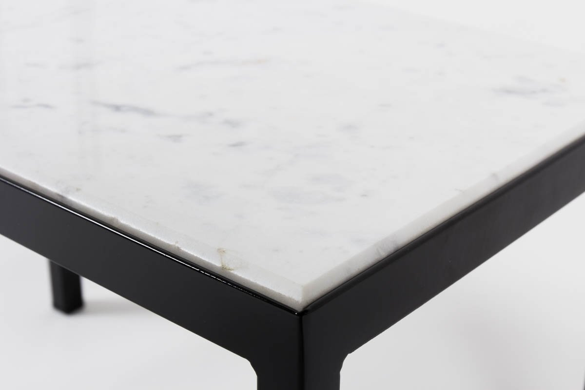 table basse vintage avec marbre blanc de carrare en vente. Black Bedroom Furniture Sets. Home Design Ideas
