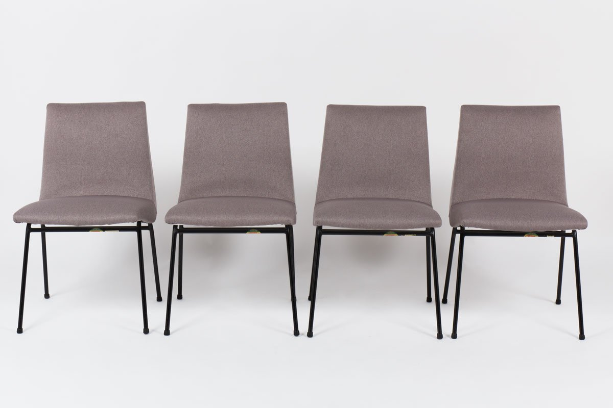 Exceptional Chairs By Pierre Paulin For Meuble TV, 1950, Set Of 4