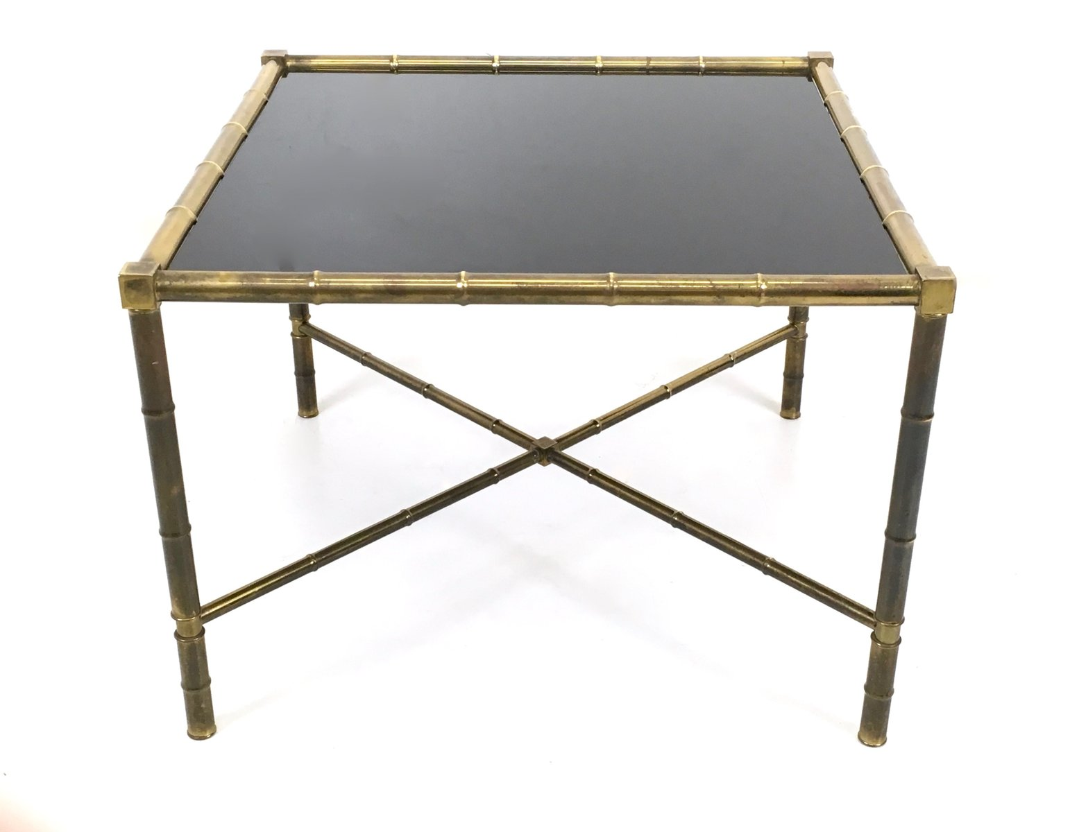 Mid Century French Brass And Opaline Glass Coffee Table 1950s For Sale At Pamono