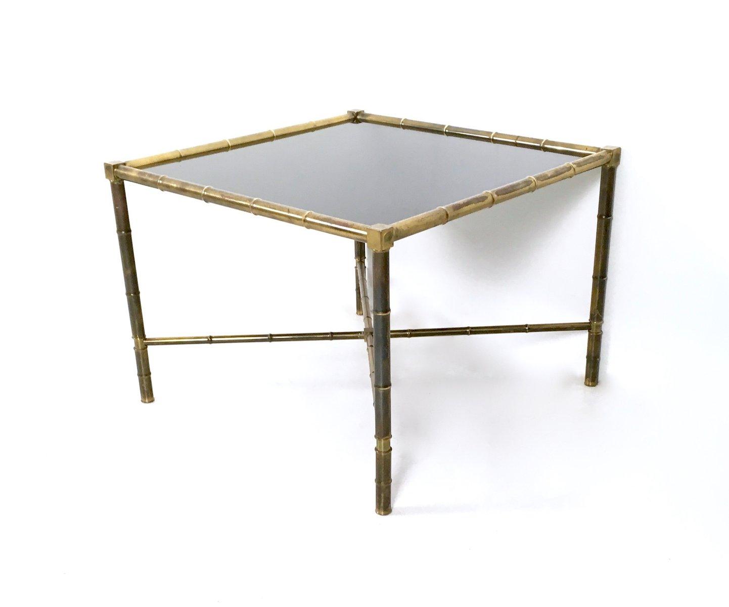 Table Basse Mid Century En Laiton Et Verre Opalin France 1950s En Vente Sur Pamono