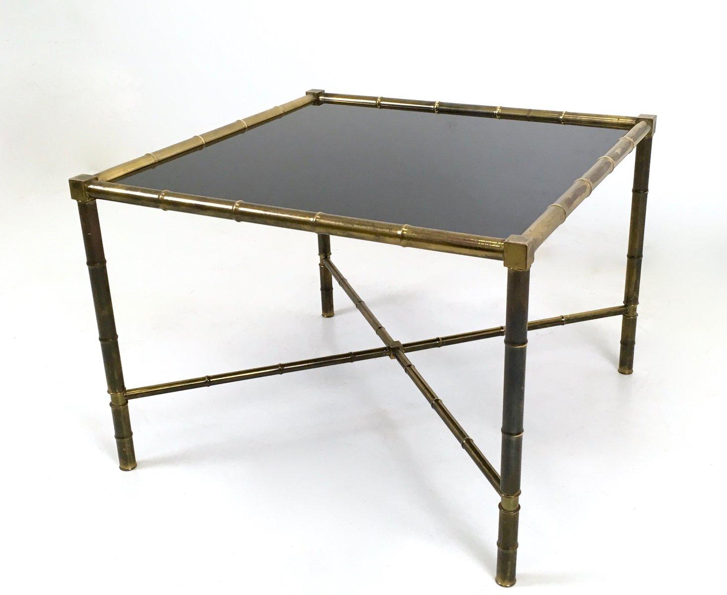 table basse mid century en laiton et verre opalin france 1950s en vente sur pamono. Black Bedroom Furniture Sets. Home Design Ideas