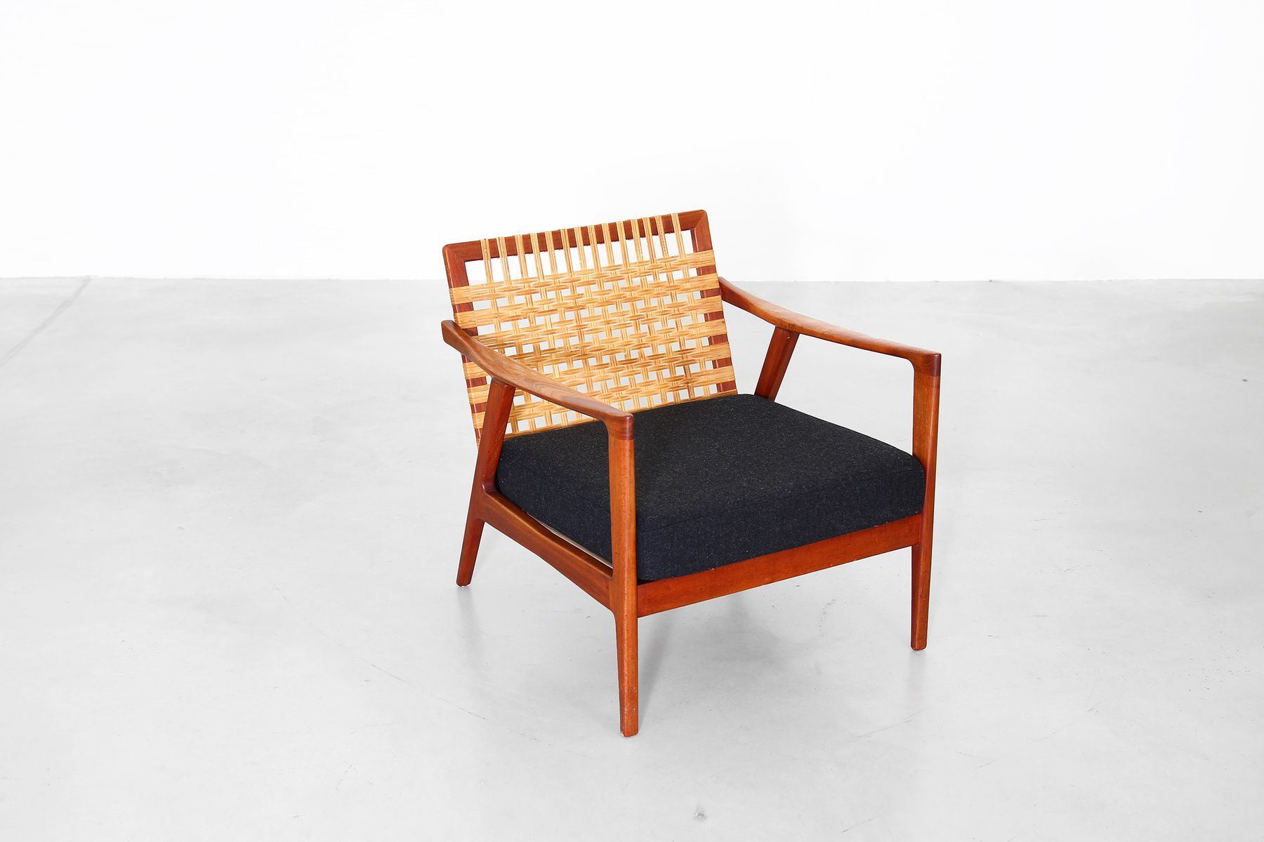 Vintage Danish Lounge Chair with Woven Backrest for sale at Pamono