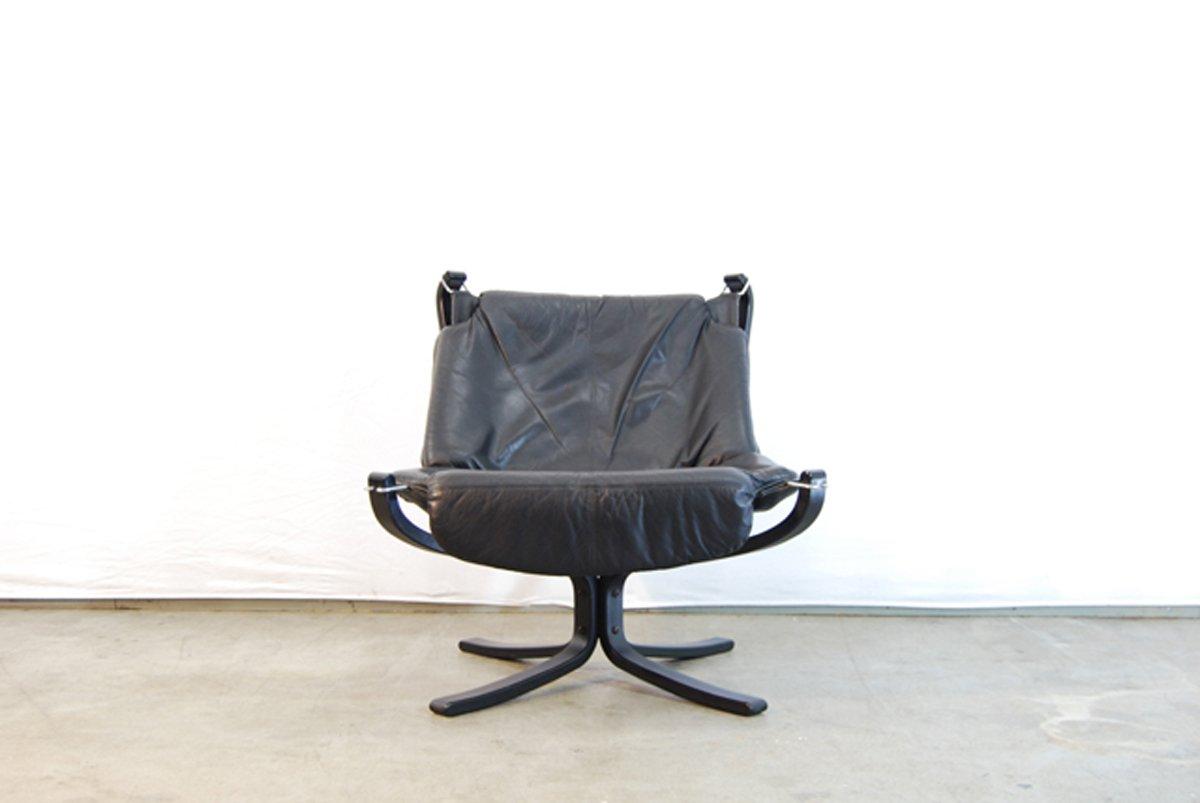 schwarzer leder falcon stuhl hocker von sigurd ressell f r vatner m bler 1970er bei pamono kaufen. Black Bedroom Furniture Sets. Home Design Ideas