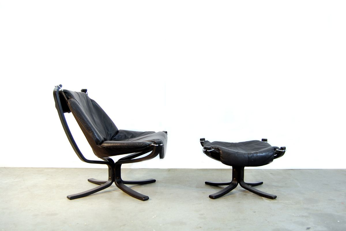 Black Leather Falcon Chair Foot Stool By Sigurd Ressell For Vatner M Bler 1970s For Sale At