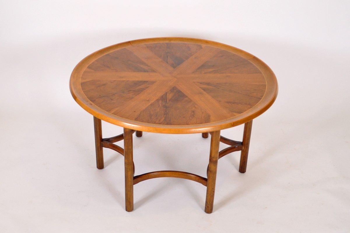vintage walnut circular coffee table by william watting for